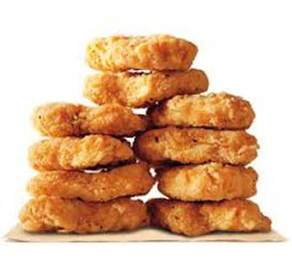 A stack of 10 chicken nuggets from Burger King.