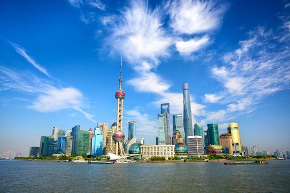 View of Shanghai from the water.