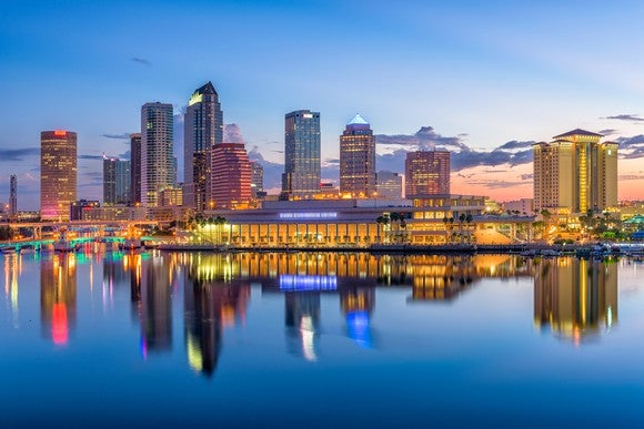 Tampa Florida skyline at dusk, with water in front of it