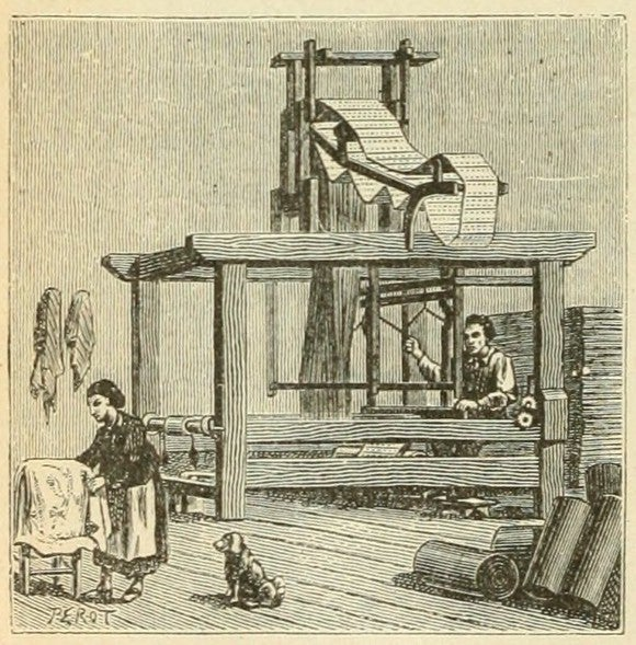 Illustration of a Jacquard loom