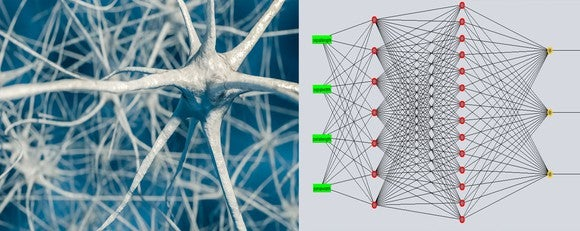 Swiggly connected brain cells alongside a web of connected dots