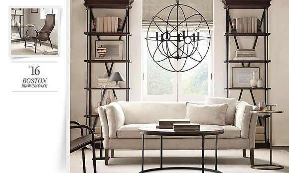 Catalog page showing couch, table, two shelves, chair, and large window hanging in an off-white room.
