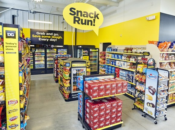"Interior shot of ""Snack Run!"" section in Dollar General store."