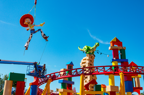 Toy Story's Jessie being lifted into the Toy Story Land that will open at Disney's Hollywood Studios in 2018.