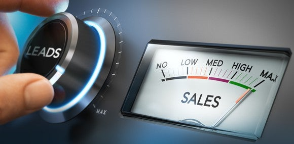 Button labeled Leads being turned to maximum as sales needle goes higher.