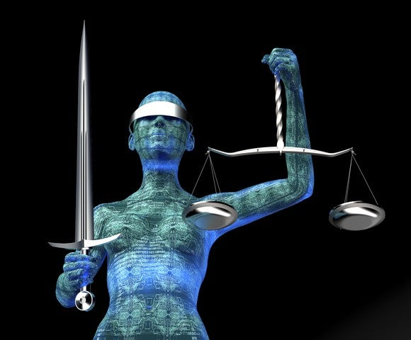 Computerized Lady Justice is holding a steel sword, a steel scale, and wearing a steel blindfold.