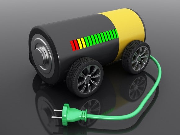 A battery on wheels, with a green plug protruding from it and a charging bar that's mostly green.