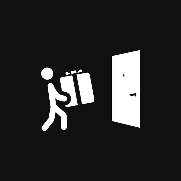 Door delivery icon -- white figure of a person carrying a white box to a white door on a black background.