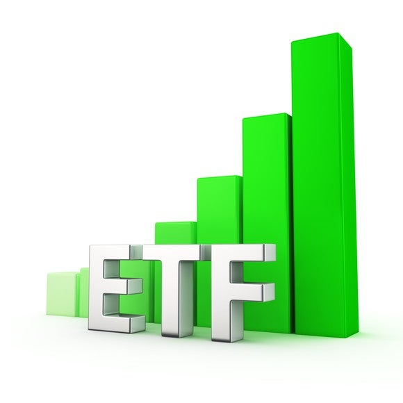 Green bar chart showing growth to the right, and letters ETF in white.