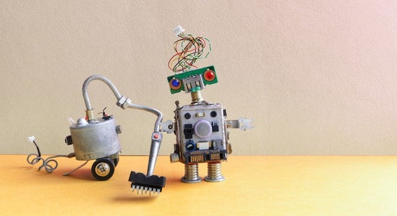 Robot running a vacuum cleaner