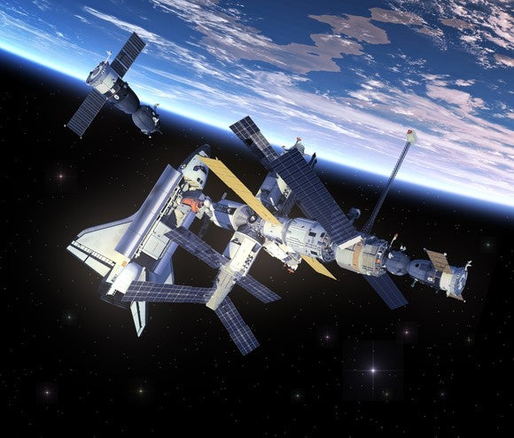 Space Shuttle docked with International Space Station
