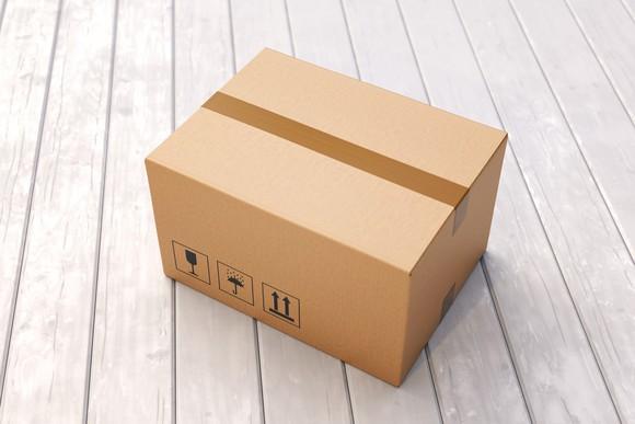 Cardboard box on porch