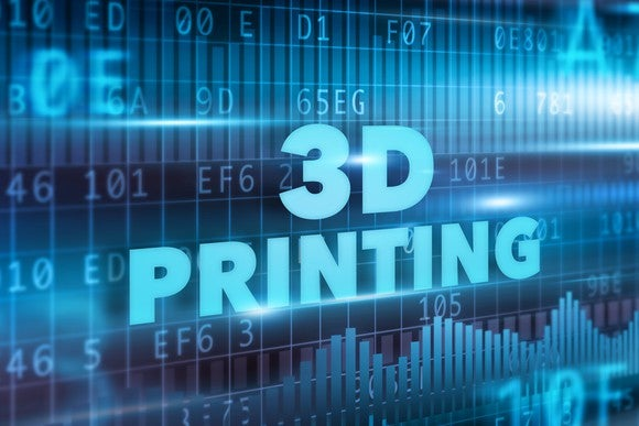 """3D Printing"" spelled out in light blue letters in front of a darker blue digital background."
