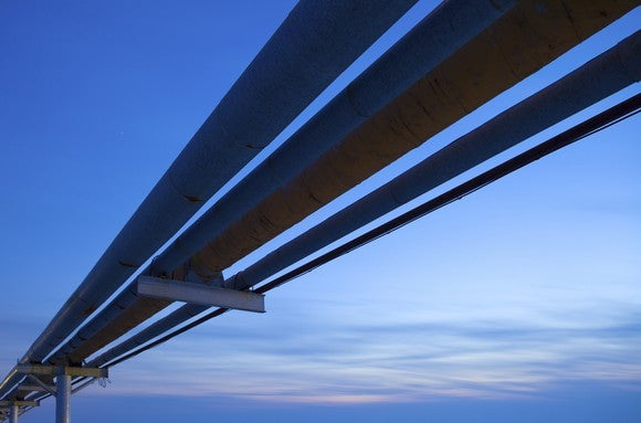 Pipelines with a blue sky in the background.