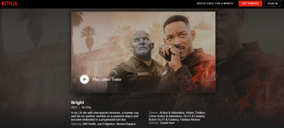 Netflix landing page for Bright showing Will Smith talking on a police walkie-talkie with a blue-hued Orc standing nearby.