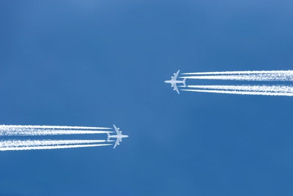 Two planes flying toward each other.