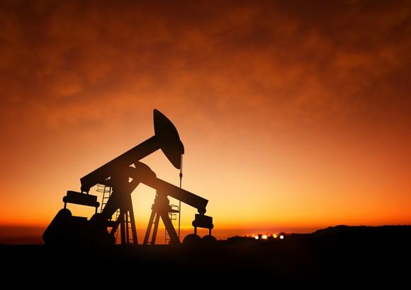 Oil Pumps at Dusk.