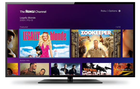A television showing viewing choices on The Roku Channel.