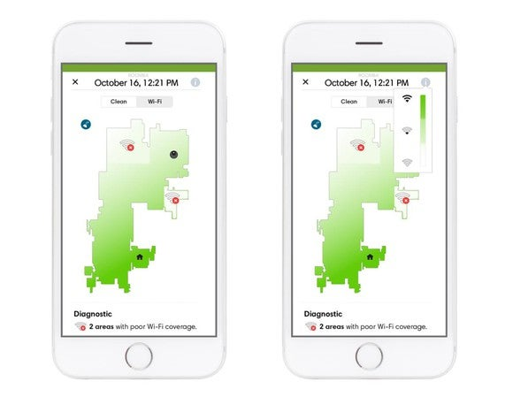 Two smartphones each displaying a Wi-Fi strength map within iRobot's HOME app