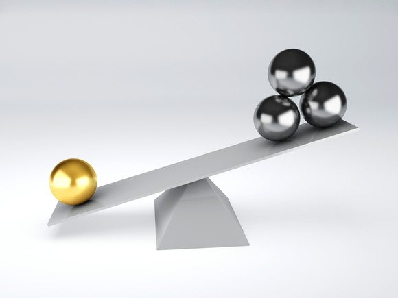 picture of a scale with three stacked balls on end, weighed down by one gold ball.
