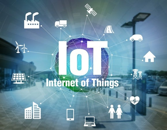 "The letters ""IoT"" with icons of different devices that are connected."