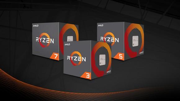 Three boxed AMD Ryzen CPUs.