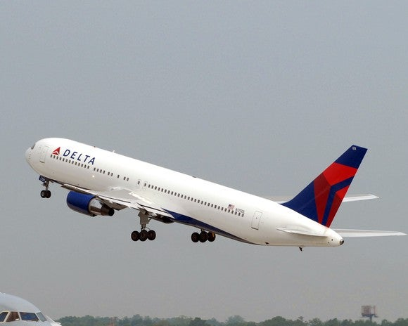 A Delta Air Lines plane taking off