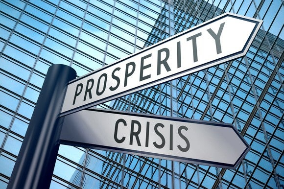 Crisis and prosperity street signs with building in background