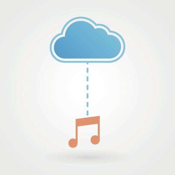 A cloud icon connected to a music note icon by a dotted line.