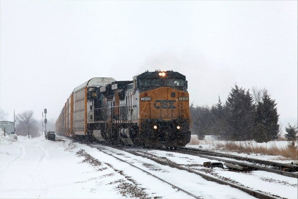 A CSX train traversing a snowy landscape.