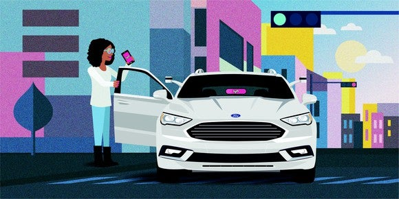 A drawing showing a woman getting into a self-driving Ford sedan summoned via Lyft's cellphone app.