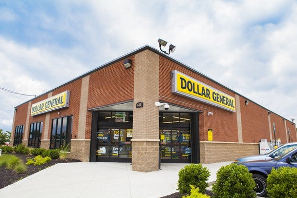 Brick exterior of Dollar General store.