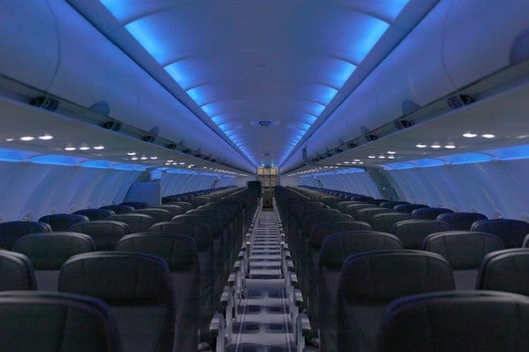 The interior of a refurbished JetBlue plane