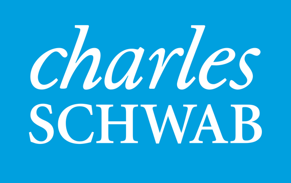 Charles Schwab logo in white lettering on blue background.