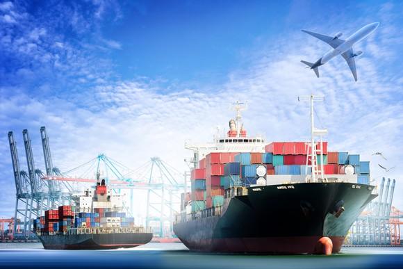 Dry bulk tankers in a port.