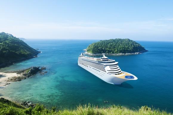 A cruise ship at dock.