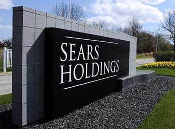 """A sign saying """"Sears Holdings"""" at Sears headquarters"""