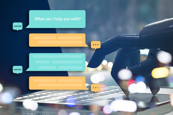 A chatbot screen with a robot hand in the background.