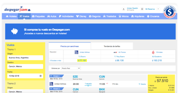 Despegar.com's booking engine on a PC.