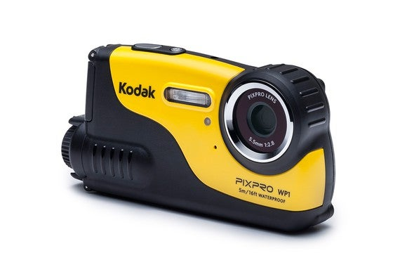 Yellow Kodak PixPro camera, a small handheld camera standing on a flat surface.