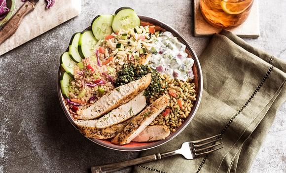 A Mediterranean Salad Trio Bowl from Zoe's Kitchen