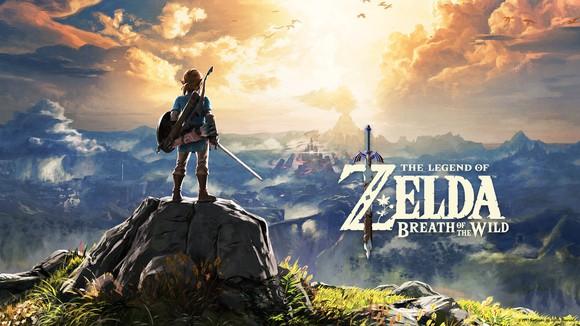 Nintendo's The Legend of Zelda packaging art depicting a character standing on a mountaintop looking toward the horizon.