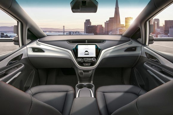 A photo of the Cruise AV's dashboard, which has no steering wheel or pedals.