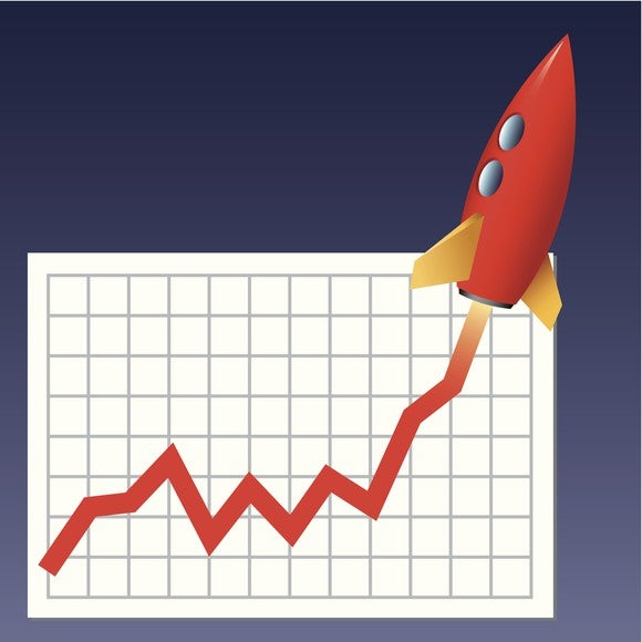 A stock chart with a rocket ship taking off from the chart.