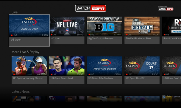 A TV screen showing a variety of sporting events on the ESPN app.