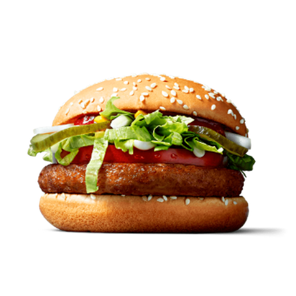 The McVegan Burger, with vegetable-based patty, lettuce, tomato, onions, and pickle, and a bun.