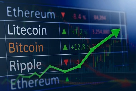 A green charting arrow pointing upward, over a list of popular cryptocurrency names such as Bitcoin, Ethereum, Ripple, and Litecoin.