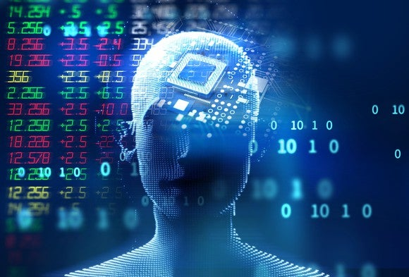 3D illustration of a virtual human against a background of a display of market prices.