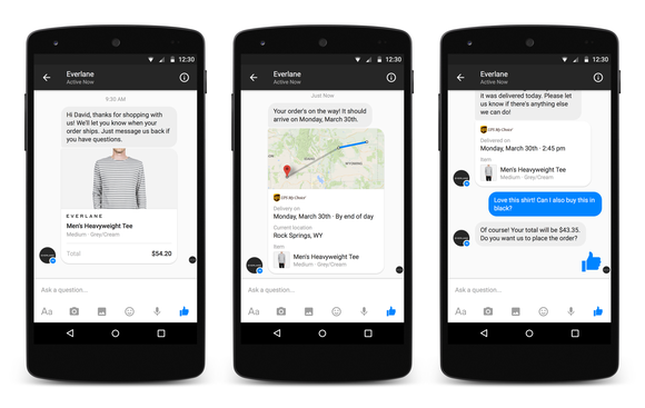 Examples of the interface for Messenger for Business