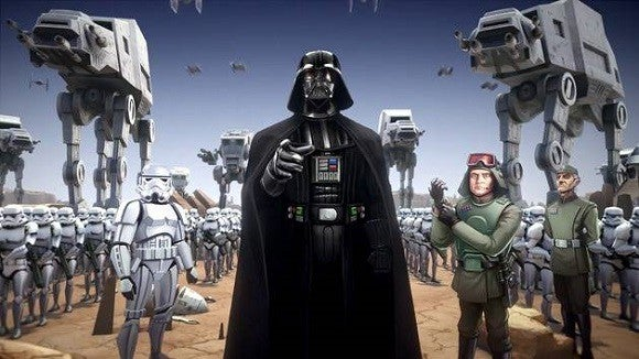 An illustration of Darth Vader and other Star Wars characters.